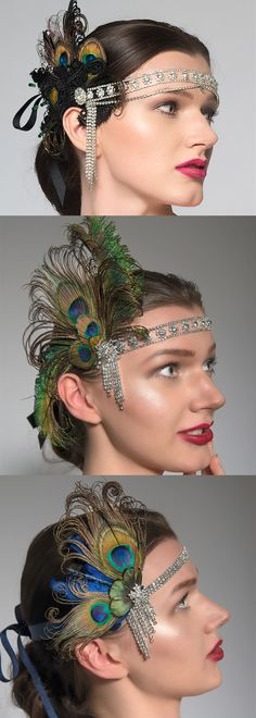 Peacock Green Blue Black Flapper Style Headbands, with Bling Rhinestone Forehead bands, and Swarovski crystals and Feathers side deco. Perfect for Halloween, Gatsby themed birthday or christmas party. Downton Abbey, Vintage inspired. Head back to roaring 20's. #fashion #fashionista #roaring20s #flappergirls #fascinator #headbands