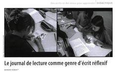 «Le journal de lecture comme genre d'écrit réflexif» Manon Hébert Manon, Lectures, Genre, Comme, Culture, Fictional Characters, Book Log, Youth