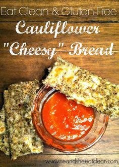 If you crave the carb-loaded unhealthy cheesy bread that often accompanies delivery pizza, this will be your new best friend! It's gluten-free, clean eating at it's best! Simply made with cauliflower, a few spices and some seeds, this is such an easy and quick recipe. You have to try it! Find the recipe at HeandSheEatClean.com #PizzaNight #EatClean #Cauliflower #GlutenFree #Breadsticks