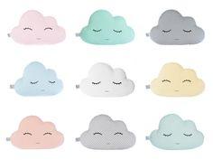 Cloud hoofdkussen - negen kleuren - wit, blauwe munt, lichtgeel, bleke roze, baby blauw, turquoise, licht koraal of grijs, Cloud kussens.