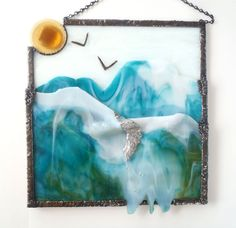 Items similar to Contemporary Stained Glass Sculpture Glacier Falls OOAK on Etsy Modern Stained Glass, Stained Glass Designs, Stained Glass Panels, Stained Glass Projects, Stained Glass Art, Glass Ceramic, Mosaic Glass, Fused Glass, Glass Tiles