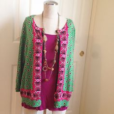 Green & Pink Patterned Cardigan Green & Pink Patterned Cardigan. 3/4 sleeves. 75% rayon, 25% nylon. Super soft. Gently used and looks brand new. Joseph A. Sweaters Cardigans