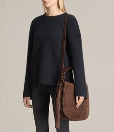 Women's Mori Nubuck Hobo Bag (Chocolate Brown) - product_image_alt_text_2