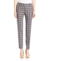 Peserico Plaid Ankle Pants ($182) ❤ liked on Polyvore featuring pants, grey plaid, modern collecti - peserico, ankle zipper jeans, ankle jeans, ankle length jeans, slim fit pants and ankle zip jeans