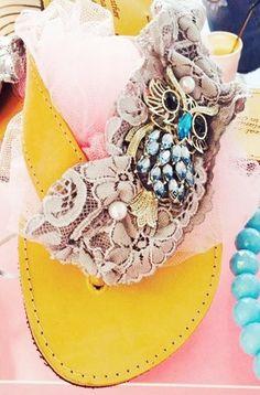 handmade decorated sandal with owl and grey lace #summer #sandals #summersandals #lace #owl #χειροποιητα #σανδαλια #greeksandals Palm Beach Sandals, Owl, Pearls, Handmade, Shoes, Fashion, Rhinestones, Moda, Hand Made