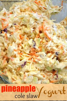 Pineapple Yogurt ColeSlaw Recipe- ready in just 10 minutes, this coleslaw dressing is sweet and spicy, the perfect coleslaw recipe for any pulled pork sandwich or BBQ side dish. Coleslaw Recipe Yogurt, Healthy Coleslaw Recipes, Homemade Coleslaw, Spicy Coleslaw, Side Dishes For Bbq, Veggie Dishes, Side Dish Recipes, Hawaiian Side Dishes, Pineapple Coleslaw