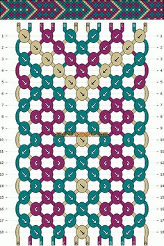 Diamonds friendship bracelet pattern number #3907 - For more patterns and inspiration visit our web or the app!