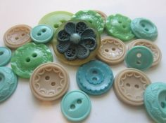 Vintage Buttons  Cottage chic mix of blue green by pillowtalkswf, $8.95