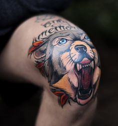 Beautiful Illustrative Wolf on Knee