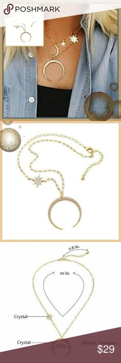 Dreamy Celestrial Crescent Moon and Star Necklace Dreamy Celestrial Crescent Moon and Star Necklace. The moon and Star are ablaze in Austrian Crystals. See photo for dimensions.  New with tags. Jewelry Necklaces