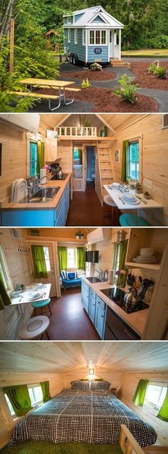 A 196 sq.ft. tiny house available for rent in Welches, Oregon, an hour outside of Portland.  Prices start at $129/nt and Zoe can sleep up to three people.
