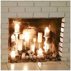 Transparent Crystal Fireplace Candle Featuring White Stain Brick Fireplace Mantel Shelf And White Ceramics Floor Tile Plus White Stain Brick Fireplace Surround click the image or link for more info. Candle Displays, Faux Fireplace Candles, Candles In Fireplace, Stained Brick, Decor, Diy Fireplace, Cottage Fireplace, Faux Fireplace, Wood Fireplace