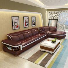 (2 assento 1 braço + salão) moderno coner sofá de couro coladas com forma de l # CE K04 em Sofá para a sala de Móveis no AliExpress.com | Alibaba Group