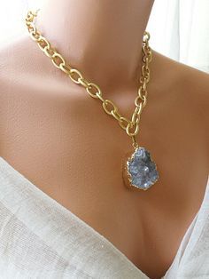 Hey, I found this really awesome Etsy listing at https://www.etsy.com/listing/247820415/grey-druzy-stone-dipped-in-24k-gold