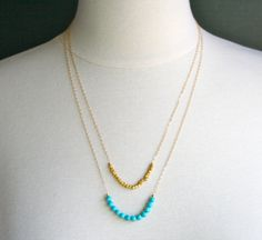 Strand Necklace, Turquoise & Gold Necklace, Gifts for her, Blue and Gold Necklace, Gold Necklace, Fall Fashion, Jewelry Trends 2015