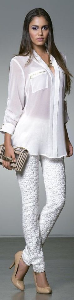 white shirt and trousers @roressclothes closet ideas women fashion outfit clothing style