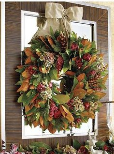 """transitional wreath.. Thanksgiving to Christmas - god who has this much time on their hands to have a """"transitional wreath??!!"""" love the fullness of it tho"""