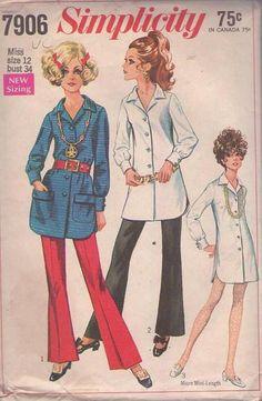 MOMSPatterns Vintage Sewing Patterns - Simplicity 7906 Vintage 60's Sewing Pattern UNIQUE Cool Side Slits Mod Twiggy Micro Mini Shirt Dress, Tunic Top & Flared Bell Bottom Pants Size 12