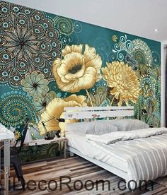 Colorful flower illustration IDCWP-000040 Wallpaper Wall Decals Wall Art Print Mural Home Decor Gift