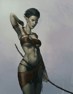 Nude female archer drawings