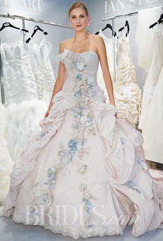 "Ian Stuart - Fall 2014. ""Gainsborough"" strapless taffeta metal and beaded metallic lace ball gown wedding dress with all over flower details, Ian Stuart"
