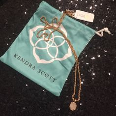 Kendra Scott Oliver Necklace White Druzy set in rose gold. Stunning!! Kendra Scott Jewelry Necklaces