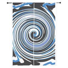 Black and blue swirl design Curtains on CafePress.com