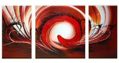 Hand Painted Modern Abstract Oil Painting 3 Panel Pictures Home Decor Wall Art Red Geometric Paintings Acrylic Canvas Wallpaper Geometric Painting, Oil Painting Abstract, 3 Piece Art, Acrylic Painting Canvas, Canvas Paintings, Home Decor Wall Art, Painting Inspiration, Art Projects, Arts And Crafts