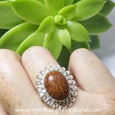 Goldstone Sacral Light Gemstone Crystal Sterling Silver Ring
