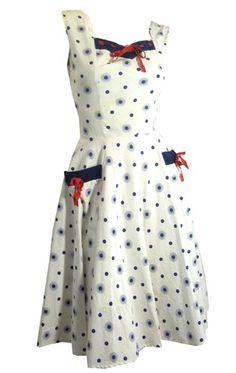 Atomic Print Patriotic Cutie Cotton Sun Dress circa 1940s - Dorothea's Closet Vintage