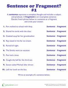 Kids will read each phrase and decide if it's a sentence or fragment. This grammar
