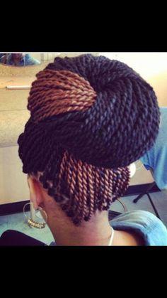 Senegalese twist two toned bun