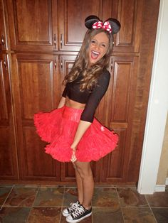 Simple- I'd add yellow sneaks, white gloves, a polka dotted skirt, and suspenders (: | Minnie Mouse | Disney | Halloween Costume