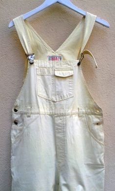 80s90s DUNGAREES  yellow  Overall 1980s VINTAGE DUNGAREES M Medium pastel Yellow by VirtageVintage on Etsy
