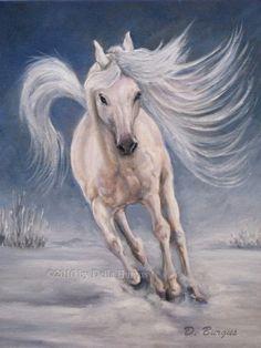 images of arabian horse artwork | Equine Art Horses White Arabian by Della Burgus -- Art Helping Animals