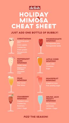 Holiday Mimosa Cheat Sheet Bust out the bubbly—and toast to the season. Holiday Mimosa Cheat Sheet Bust out the bubbly—and toast to the season. Christmas Cocktails, Holiday Cocktails, Cocktail Drinks, Champagne Drinks, Christmas Drinks Alcohol, Prosecco Cocktails, Brunch Drinks, Classic Cocktails, New Years Cocktails