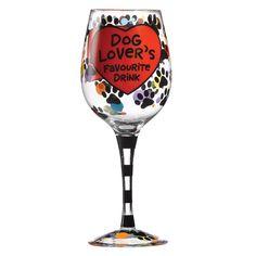 Enesco A27111, Bicchiere da vino con messaggio in inglese per gli amanti dei cani, Multicolore