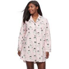 50898523828a Plus Size Star   Skye Pajamas  Long Sleeve Flannel Sleep Shirt