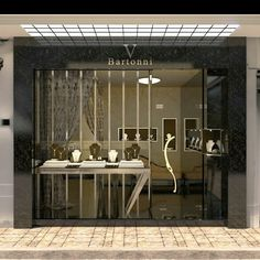Jewellery retail store front and window display design jewelry shop design Design Shop, Showroom Design, Shop Front Design, Shop Interior Design, Boutique Interior, Jewellery Shop Design, Jewellery Showroom, Jewelry Shop, Jewelry Stores