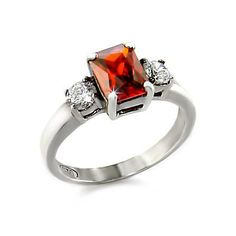Classic Trilogy Silver Ring w Garnet CZ - Fine Jewelry Gift, VORI09-04593