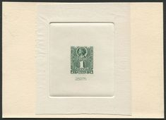 Sunken Die Proof on India paper on card: Chile Scott #37 (issued 1894) Christopher Columbus.