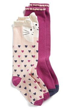 Tucker + Tate 'Kitty Love' Knee High Socks (Toddler, Little Kid) (2-Pack) available at #Nordstrom