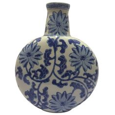 Chinosorie Vase in Blue with Floral Details (115 AUD) ❤ liked on Polyvore featuring home, home decor, vases, blue home accessories, blue home decor, blue vase, floral home decor and floral vases