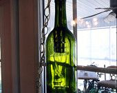 Items similar to Upcycled Wine Bottle Luminary by Michelle McCarville - Hanging on Etsy