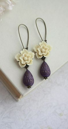 Ivory Sakura Rose, Purple Lilac Ornate Beads Gold Ornate Lucite Beads Earrings. Maid of Honor. Bridesmaid Gifts. Purple Wedding. | By Marolsha