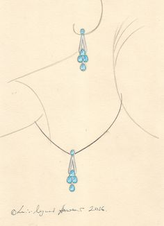 Working jewellery drawing in gouache for an aquamarine and diamond earring and pendant set in the Art Deco style.