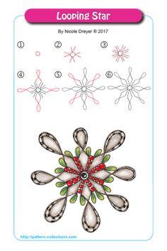 Looping Star by Nicole Dreyer Zentangle Drawings, Doodles Zentangles, Doodle Drawings, Doodle Art, Easy Zentangle Patterns, Zen Doodle Patterns, Doodle Borders, Tangle Doodle, Tangle Art