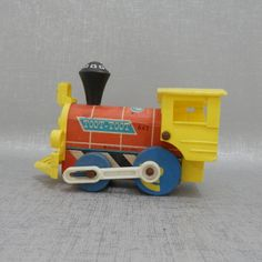 """Fisher Price Wooden """"Toot Toot"""" Toy Train by MidCenturyMagnolia on Etsy #FisherPrice #woodentrain"""