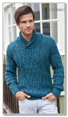 Вязание спицами. Пуловер с шалевым воротником и различными косами. Размер 34 [38:42:46:50:54]