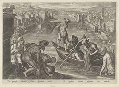 Visvangst met net, Philips Galle, 1578